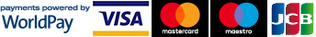 Payments powered by WorldPay, VISA, Mastercard, Maestro and JCB